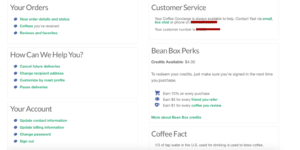Bean Box Account Dashboard