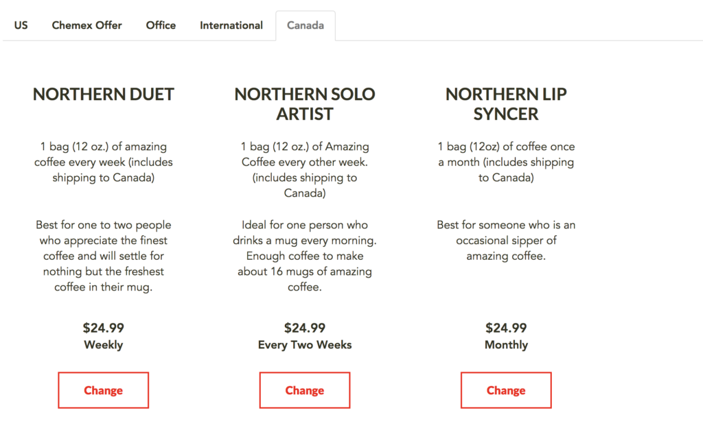 Moustache Coffee Club Canada Pricing